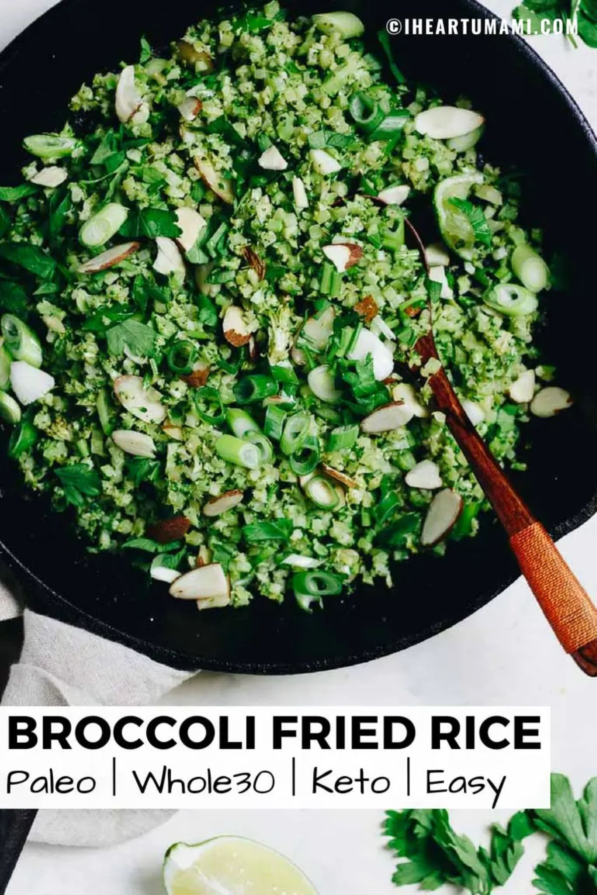 "The text reads ""Broccoli fried rice. Paleo, whole30, keto, easy"". The photo is a skillet of broccoli rice with a wooden spoon sticking out of it"