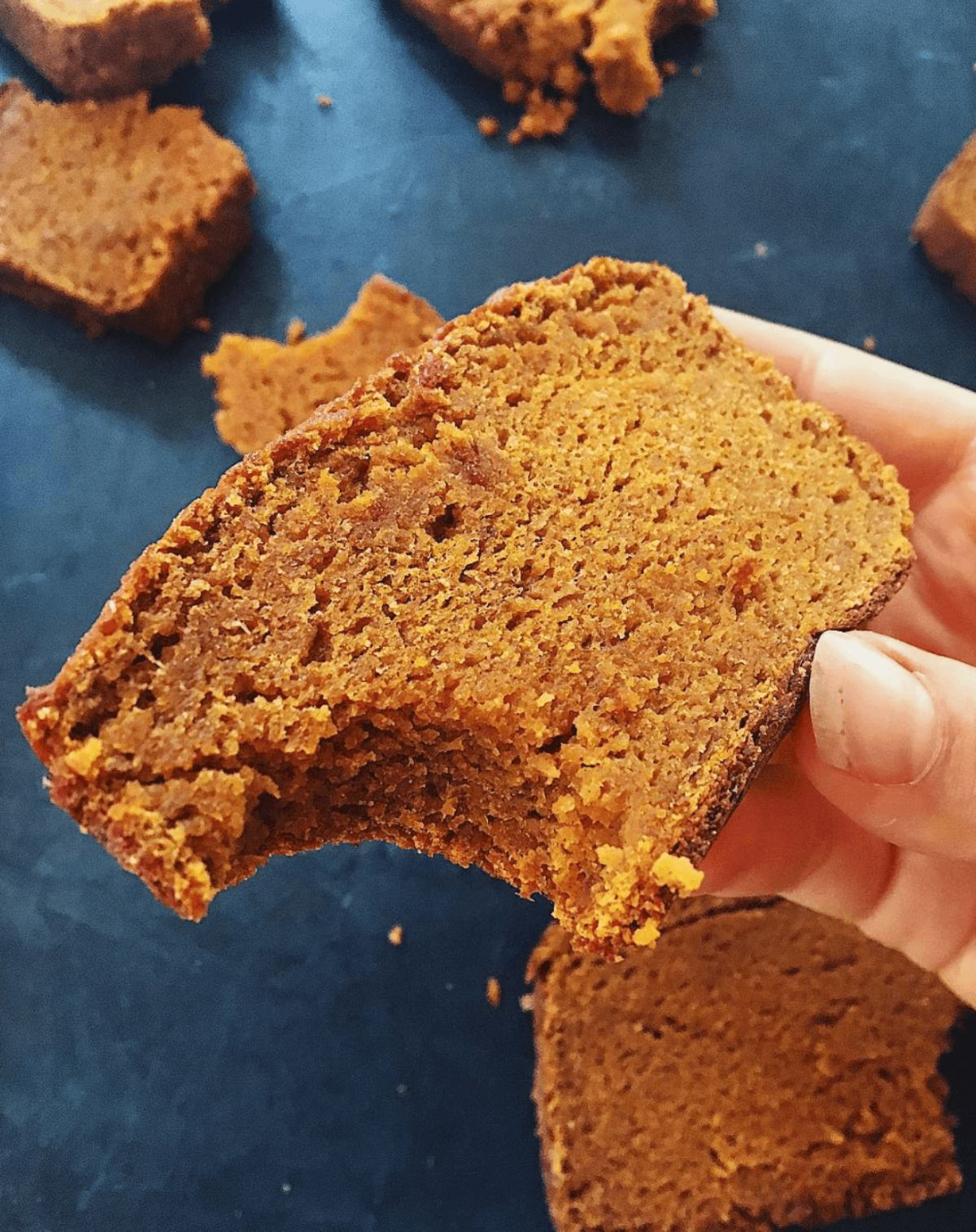 a hand holds a slice of sweet potato pumpkin spice bread. Other slices can be seen below on the counter top