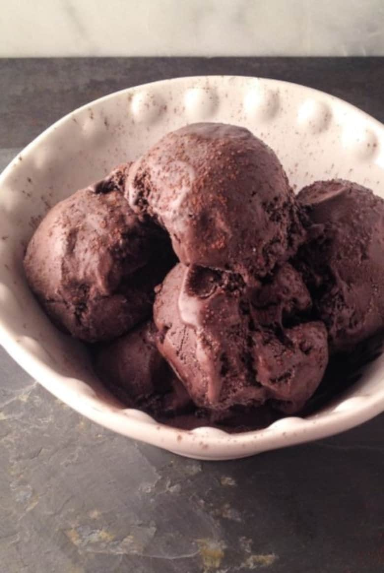 Bowl of paleo chocolate ice cream