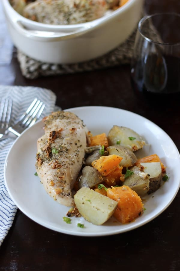 Roasted Chicken with Potatoes and Butternut Squash