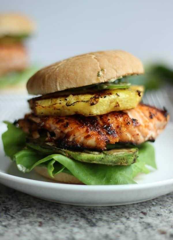 Tropical Salmon Burgers with Grilled Pineapple and Avocado