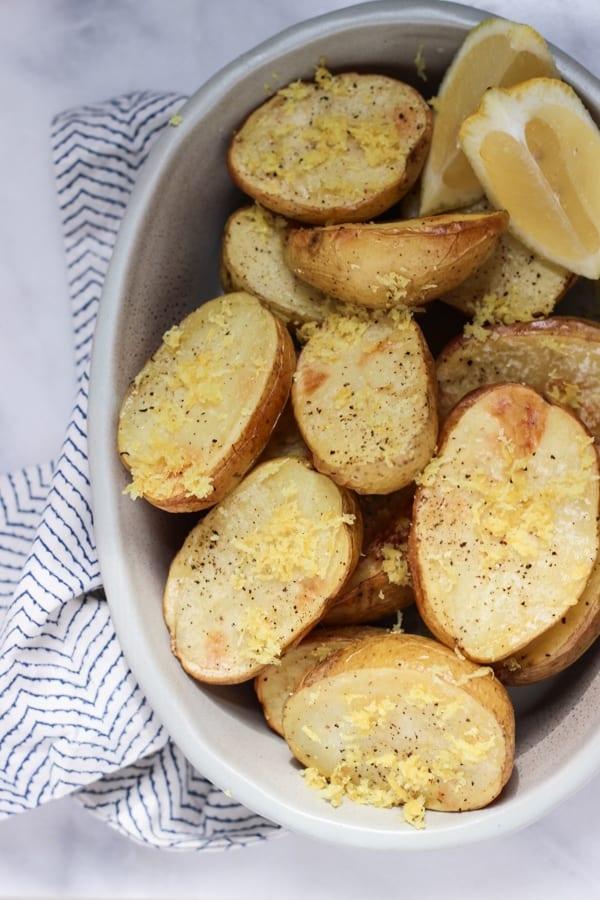 Lemon Salt Roasted Potatoes | Wicked Spatula