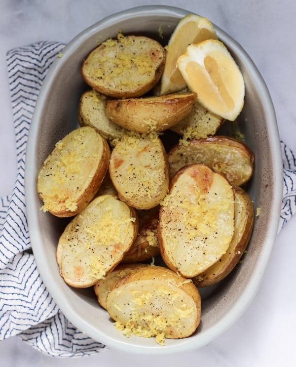 Lemon Salt Roasted Potatoes - Wicked Spatula