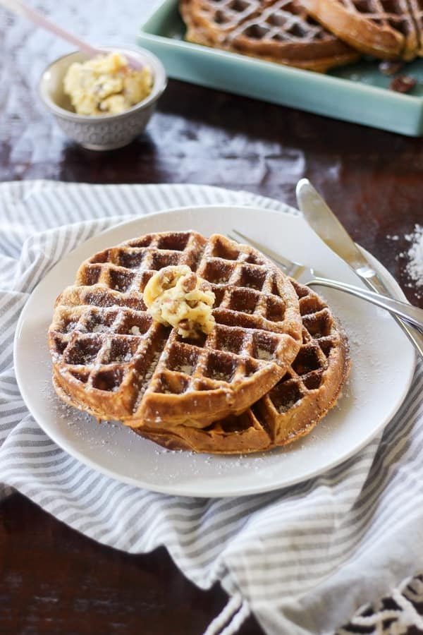 Brown Butter Waffles With Honey-Apples And Pecans Recipes — Dishmaps