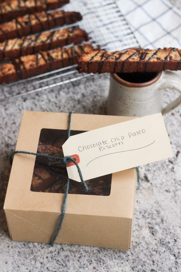 Paleo Chocolate Cranberry Coconut Biscotti in a gift box
