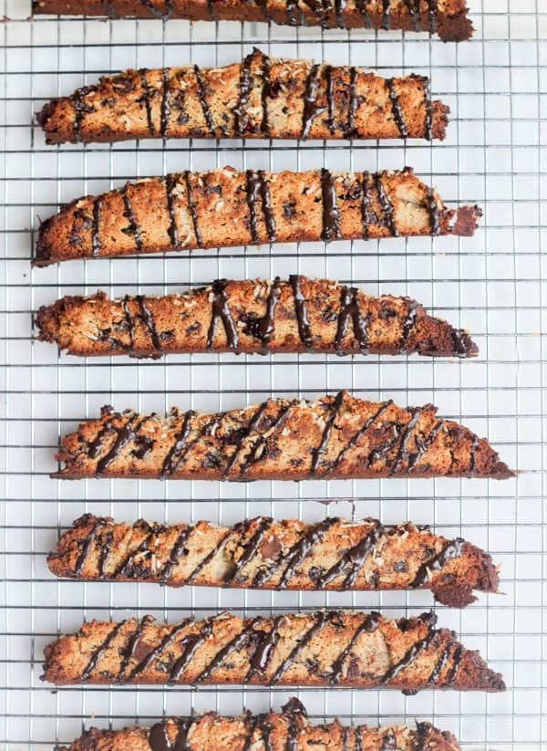 Paleo Chocolate Cranberry Coconut Biscotti | Wicked Spatula