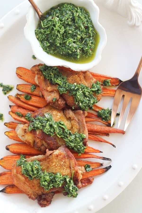 Chimichurri Chicken Thighs | Wicked Spatula