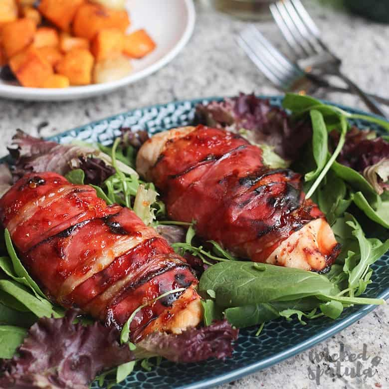 Prosciutto Wrapped Chicken Breast Recipe - Featured image with chicken wrapped in prosciutto