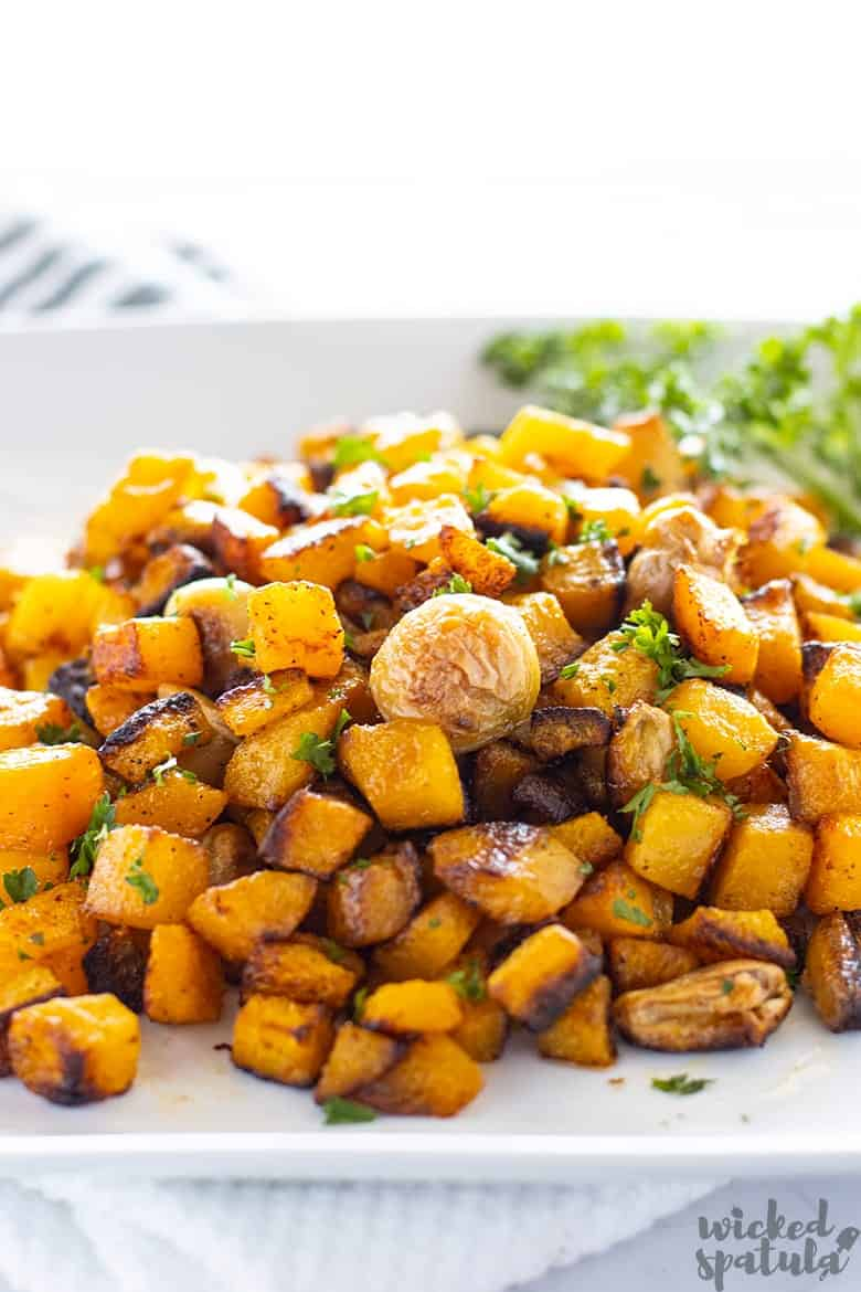 Garlic Roasted Butternut Squash on a plate