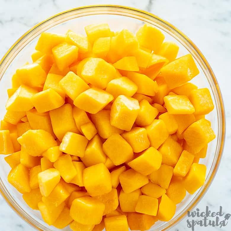 Butternut Squash diced in a bowl