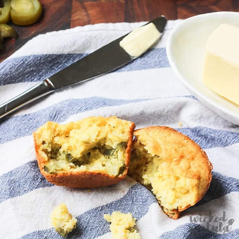 Paleo Cornbread Muffins Recipe - closeup photo