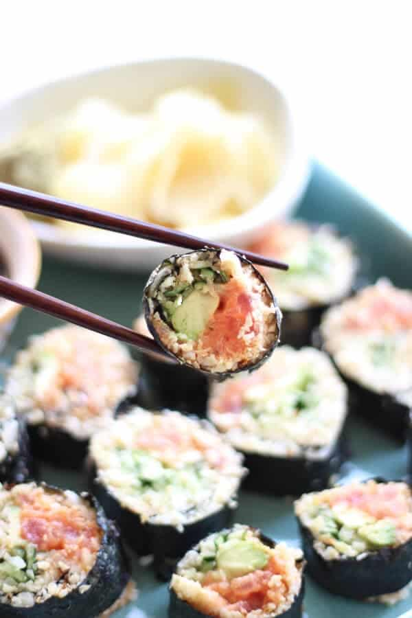 Paleo Cauliflower Rice Sushi Rolls Recipe (Spicy Tuna) - Ready to eat sushi