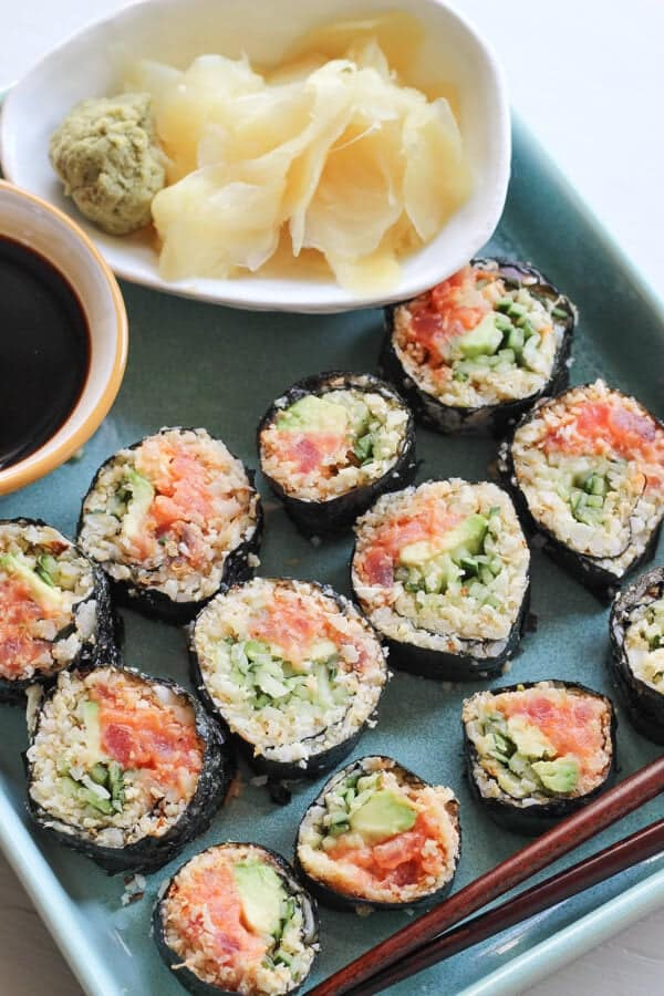 Paleo Cauliflower Rice Sushi Rolls Recipe (Spicy Tuna Rolls) - Sushi rolls ready to eat