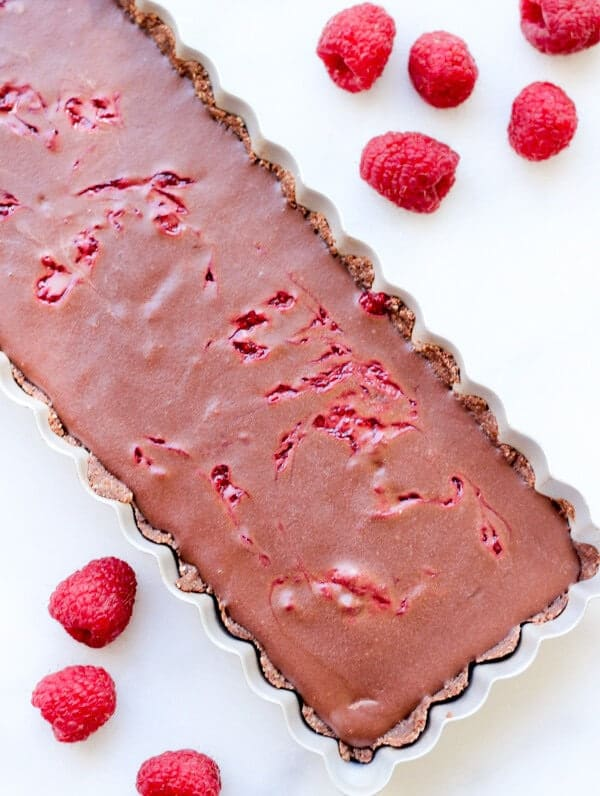 Raspberry Swirl Chocolate Tart | https://www.wickedspatula.com