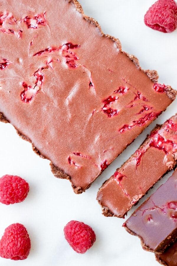 Raspberry Swirl Chocolate Tart