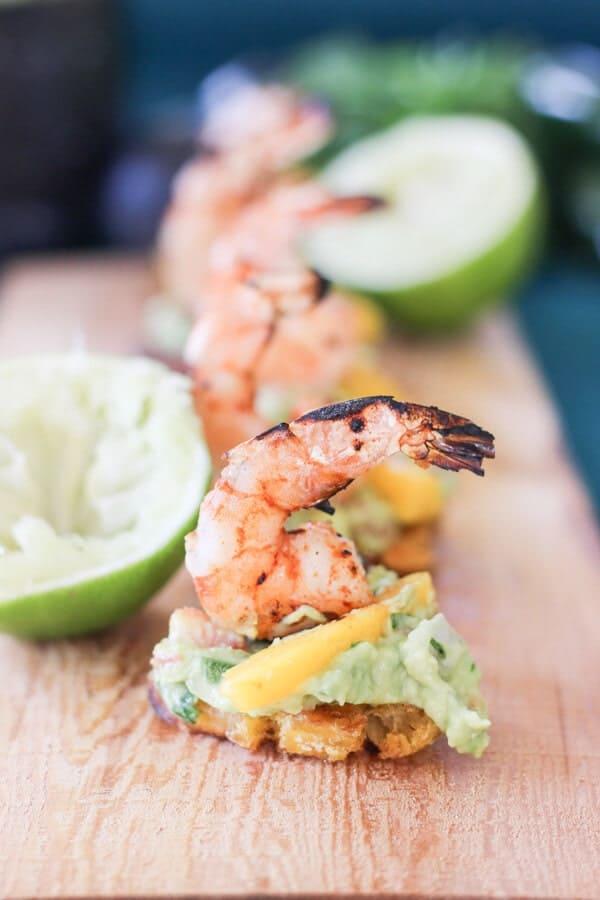 Grilled Shrimp and Guacamole Tostones | http://www.wickedspatula.com