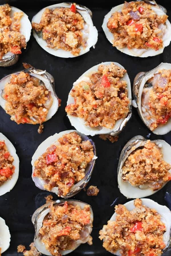 Easy Baked Stuffed Clams Recipe (Clams and Chorizo) - Ready to eat chorizo stuffed clams