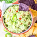 simple guacamole with chips