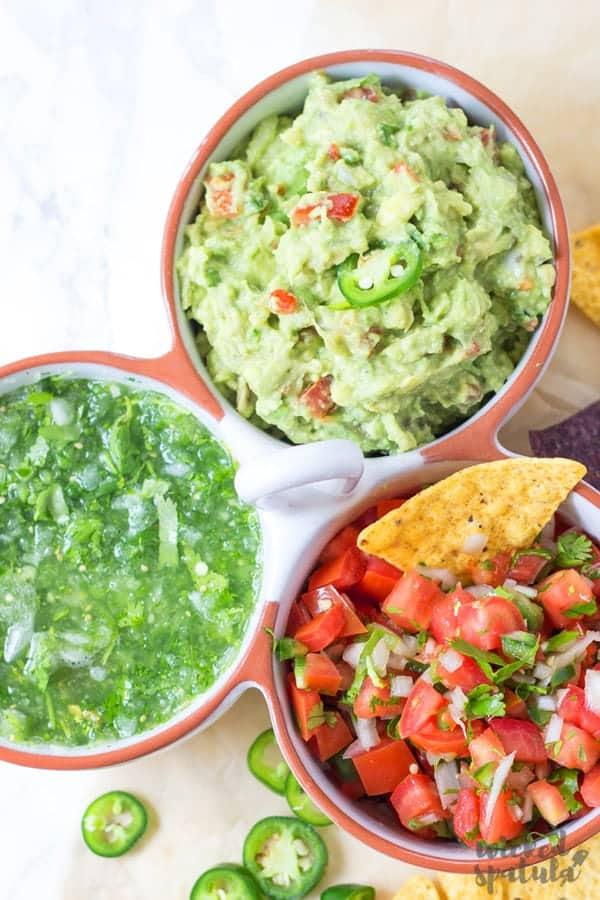 Simple homemade guacamole recipe, plus pico de gallo and tomatillo salsa