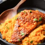 maple syurp glazed salmon on sweet potatoes