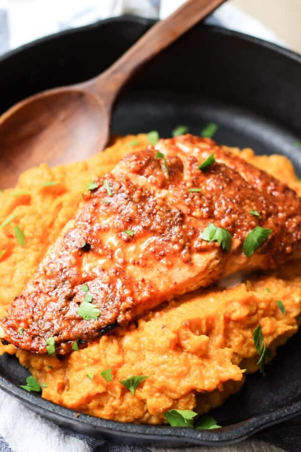 Maple Mustard Glazed Salmon Recipe - Pan with cooked salmon
