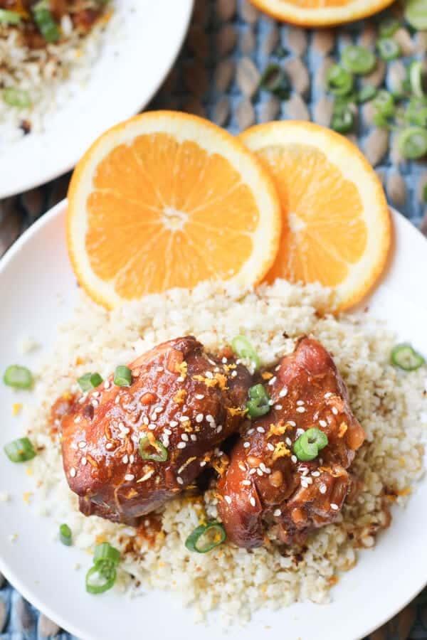 Easy Paleo Crock Pot Slow Cooker Orange Chicken - Ready to serve orange chicken