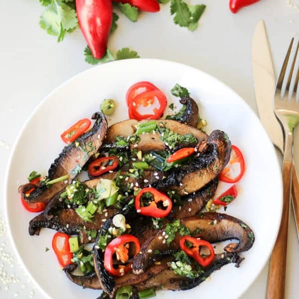 Plate of spicy roasted portobello mushrooms