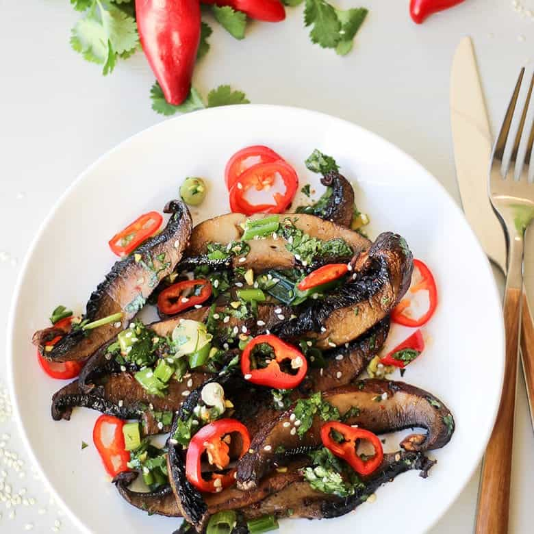 Spicy Asian Roasted Portobello Mushrooms Recipe Wicked Spatula