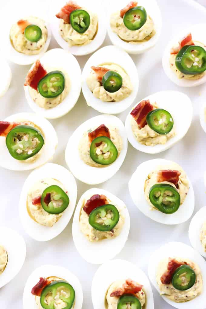 Bacon Jalapeno Deviled Eggs Recipe - Close up of deviled eggs