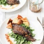 Grilled Steaks with a Bagna Cauda Sauce, Wilted Spinach, and Potatoes
