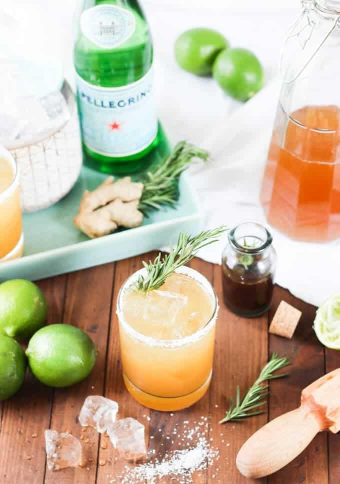 Rosemary Ginger Margaritas top-view