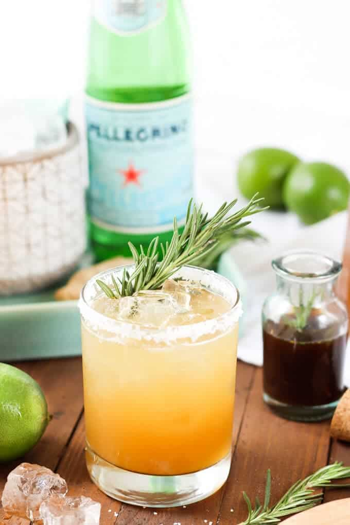 Rosemary Ginger Margaritas finished drink