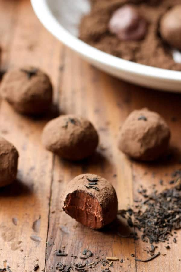 Decadent Dark Chocolate Earl Grey Truffles - Only 2 grams of sugar per truffle! Paleo and Vegan