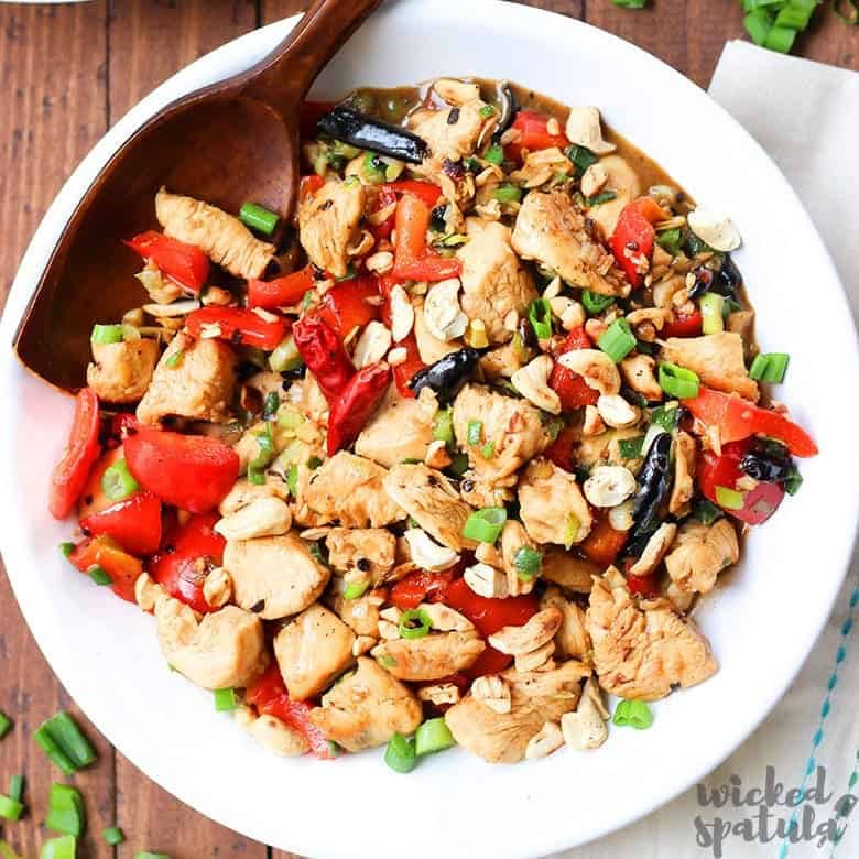 healthy Kung Pao chicken recipe in a bowl