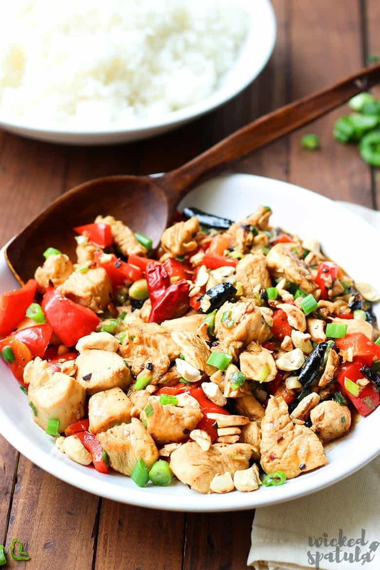 Kung Pao chicken recipe with wooden spatula