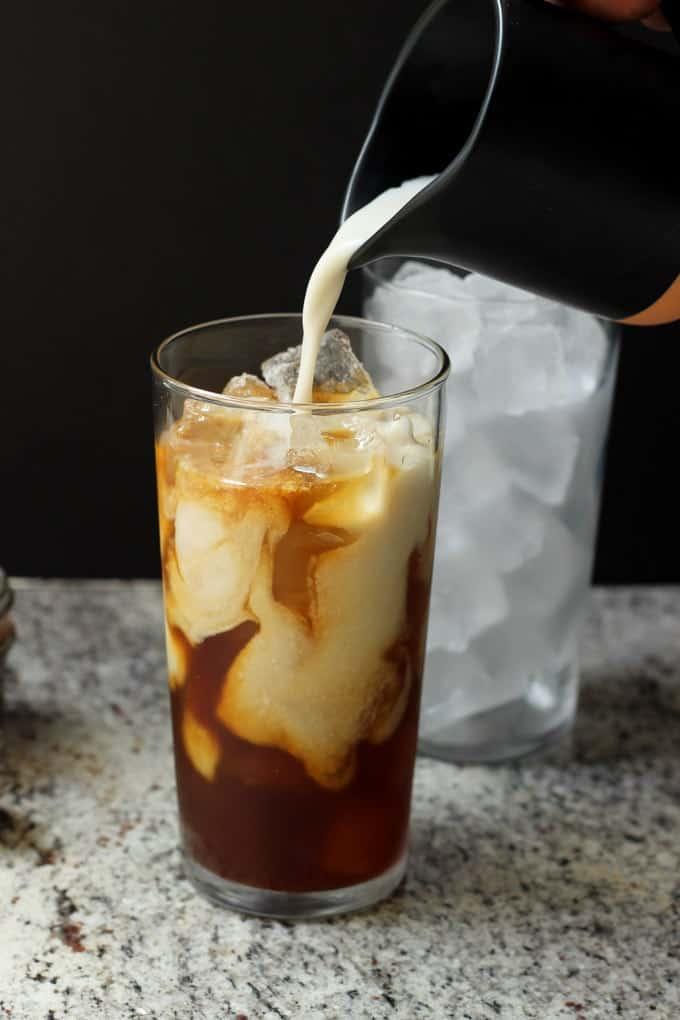 Caramel macchiato with coconut milk