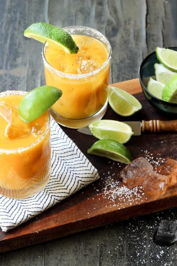 Grilled Mango Habanero Margaritas | wickedspatula.com
