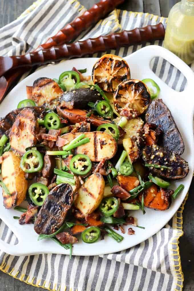 Grilled Potato Salad Recipe With Onions & Vinaigrette - Ready to serve grilled potato salad