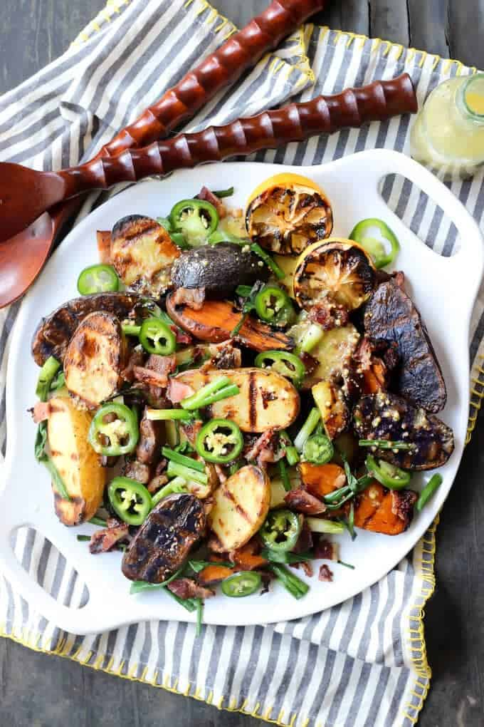 Tricolor Grilled Potato Salad with Bacon, Spring Onions, and Mustard ...