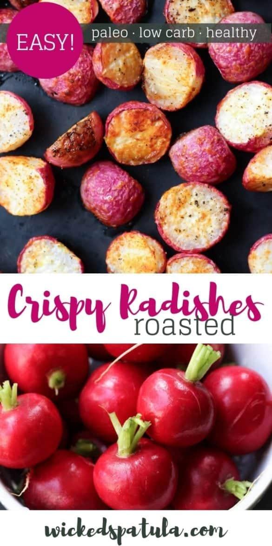 Baked Roasted Radishes Recipe - Pinterest image