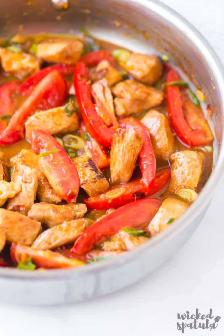 pan of orange chicken stir fry