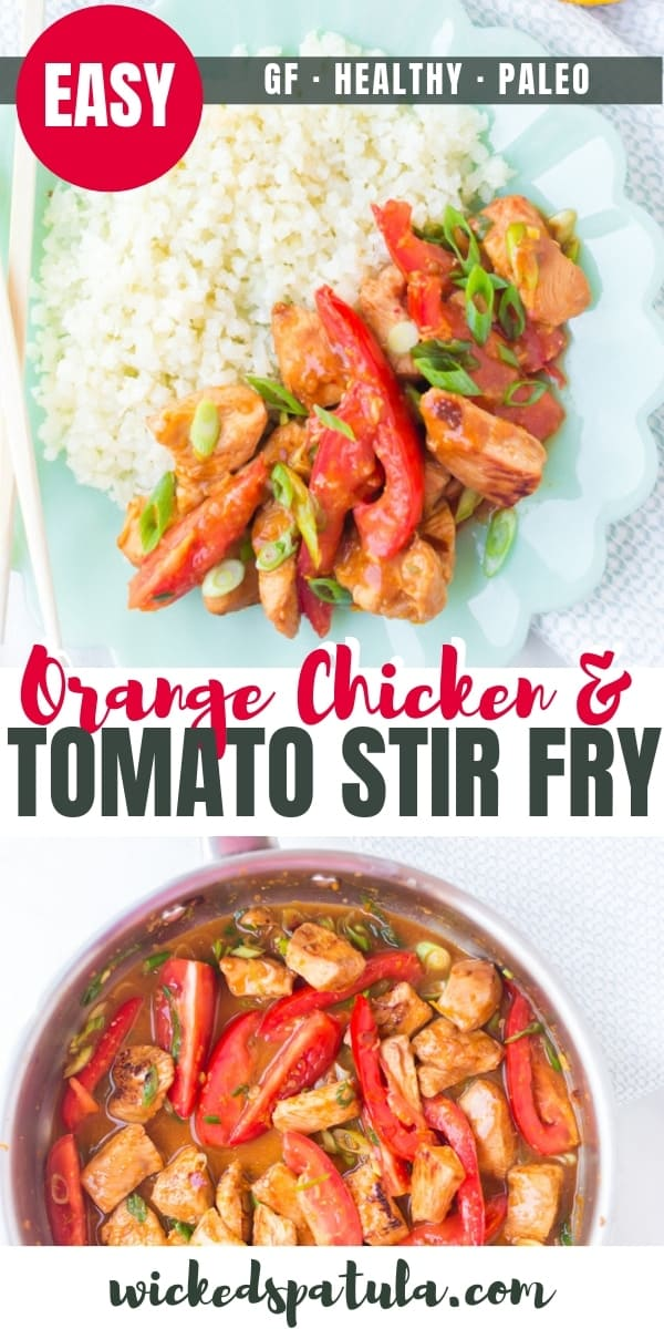 Paleo orange chicken stir fry recipe - Pinterest image