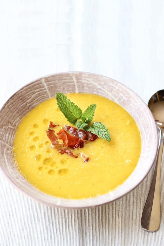 Cantaloupe Gazpacho With Frizzled Prosciutto Recipe Wicked Spatula Pour soup into melon bowls and swirl in a teaspoon of sour cream as a garnish. cantaloupe gazpacho with frizzled prosciutto
