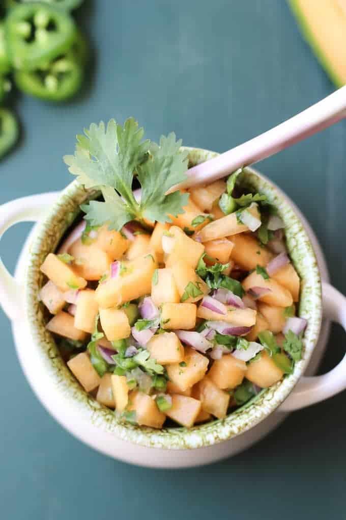 Cantaloupe salsa in a bowl