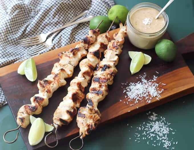 chicken satay marinade with chicken breast on skewers