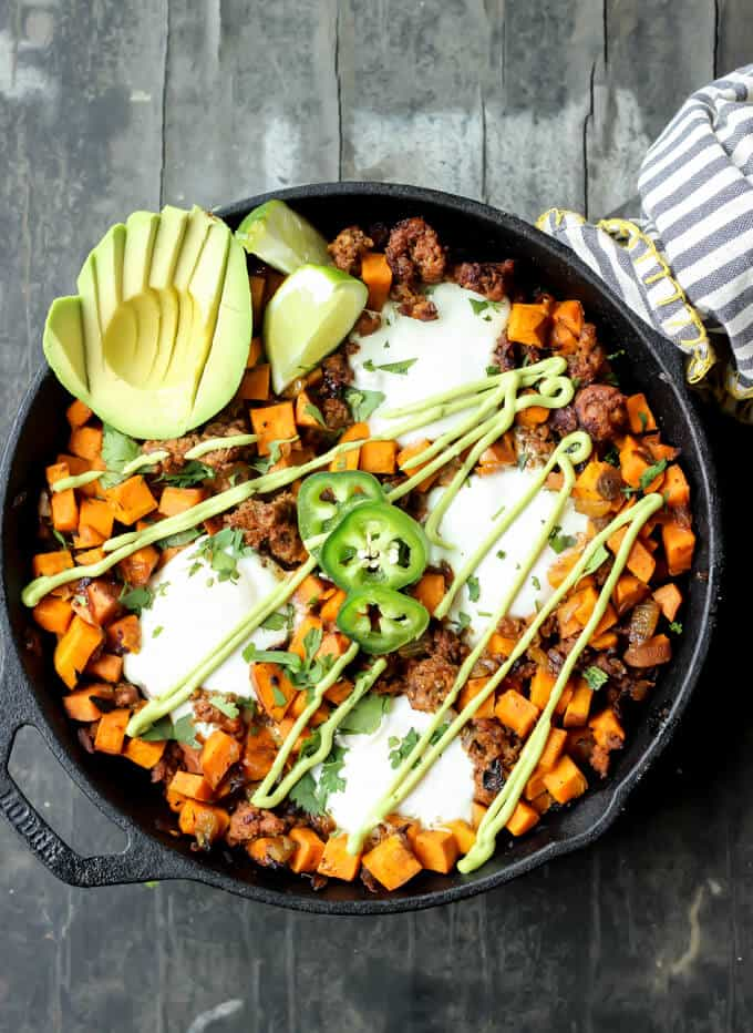 Sweet Potato Chorizo Hash with Eggs and Avocado Crema {PALEO}