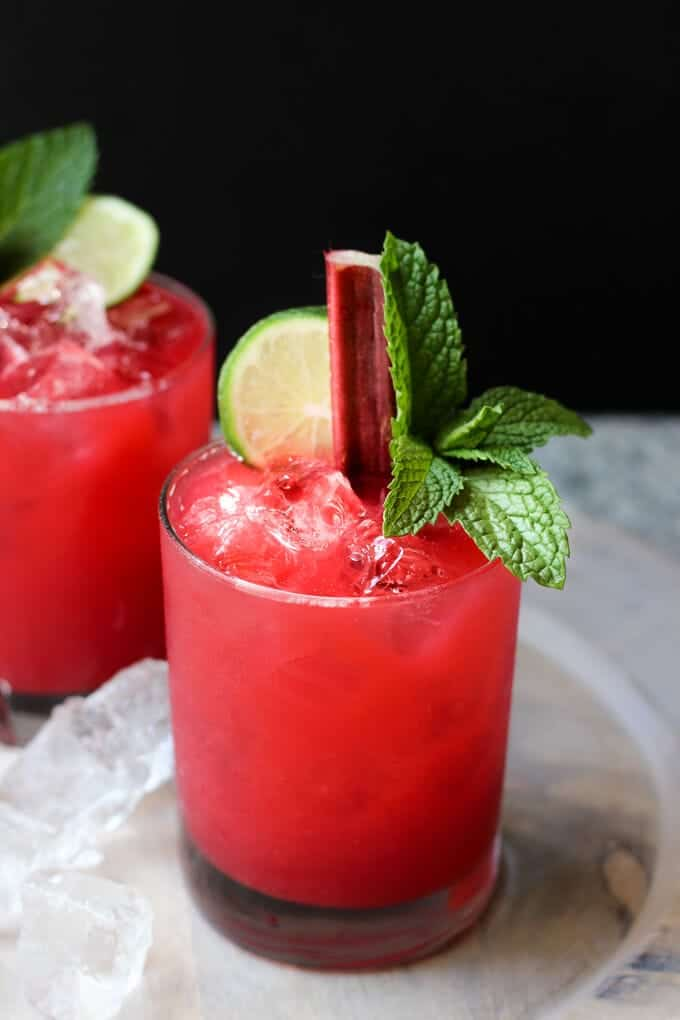 Raspberry Rhubarb Margaritas | wickedspatula.com
