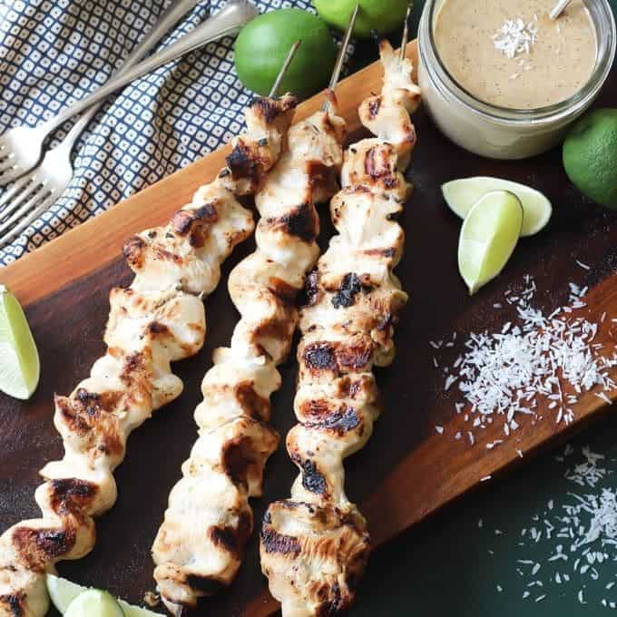 grilled chicken satay recipe with dipping sauce