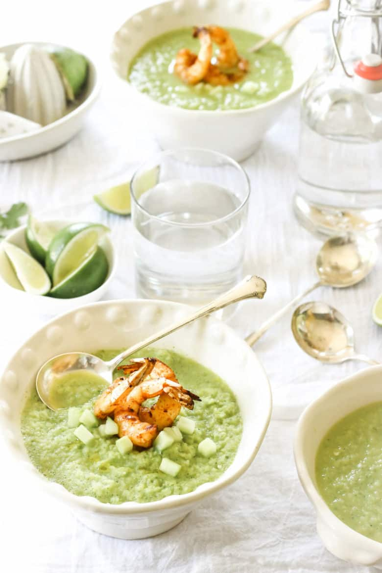 This Paleo Spicy Green Tomato Gazpacho with Grilled Shrimp is the perfect summertime soup | wickedspatula.com