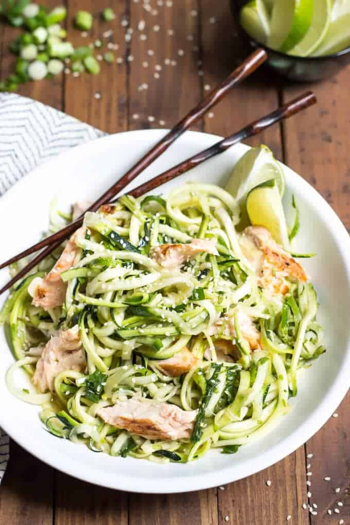 Asian Salmon Zucchini Noodle Bowl - This Paleo recipe is healthy, quick, and easy!